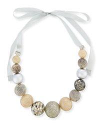 Marina Rinaldi | Gray Leonida Mixed-media Ball Necklace | Lyst