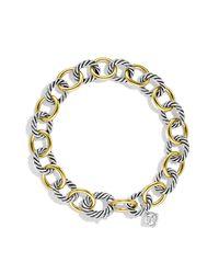 David Yurman | Metallic Oval Link Bracelet With Gold | Lyst