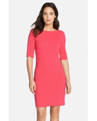 Julia Jordan Pink Geometric Pattern Knit Body-con Dress