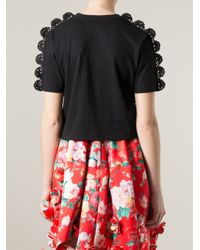 Simone Rocha - Black Crochet Appliqué T-shirt - Lyst