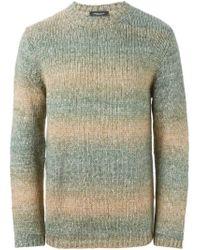 Roberto Collina - Green Striped Crew Neck Sweater for Men - Lyst