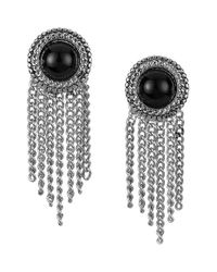 Sam Edelman | Black Stone Fringe Earrings | Lyst