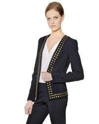 MICHAEL Michael Kors Blue Studded Crepe De Chine Fitted Jacket