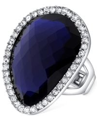T Tahari | Silver-tone Blue Stone Crystal Stretch Ring | Lyst