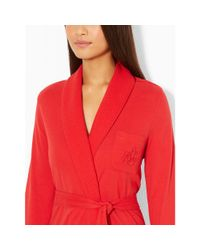 Ralph Lauren - Red Plush Shawl-collar Robe - Lyst