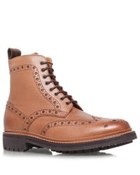 Foot The Coacher Brown Tan Fred Commando Wingtip Leather Boots for men
