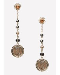 Bebe | Metallic Bead & Coin Linear Earrings | Lyst