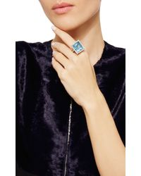 Nina Runsdorf - Blue Aquamarine And Diamond Ring - Lyst
