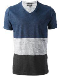 Emporio Armani | Blue V-neck T-shirt for Men | Lyst