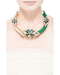 Shourouk - Zulu Crystal-Embellished Metal Necklace In Green - Lyst