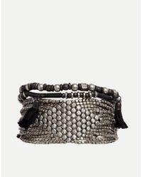 Pieces | Metallic Narcissi Beaded Twist Multipack Bracelets | Lyst