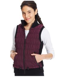 Calvin Klein Purple Performance Ribbed-Knit Quilted Puffer Vest