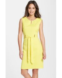 Ellen Tracy | Yellow 'kenya' Belted Sheath Dress | Lyst