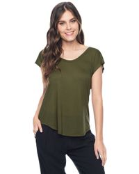 Splendid - Green U-neck Short Sleeve Top - Lyst