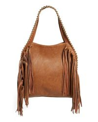 Big Buddha | Brown Fringe Faux Leather Hobo | Lyst