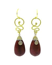Aeravida | Metallic Cute Brown Howlite Teardrop Brass Swirl Earrings | Lyst