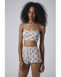 TOPSHOP - Gray Heart Print Pj Crop Top and Shorts - Lyst