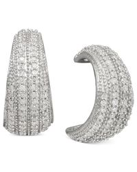 Macy's | Metallic Diamond Half-Hoop Earrings In Sterling Silver (1/2 Ct. T.W.) | Lyst