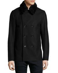 Vince Black Mouton Cashmere-blend Peacoat for men