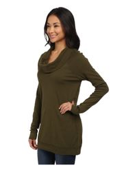 Three Dots - Green Long Sleeve Funnel Neck Tunic - Lyst