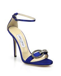 Jimmy Choo | Blue Tamsyn Crystal-buckle Satin Sandals | Lyst
