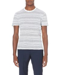 Sandro | White Striped Linen T-shirt for Men | Lyst