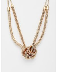 Pieces | Metallic Raviona Knot Choker Necklace | Lyst