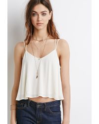 Forever 21 - Natural Lace-paneled Y-back Cami - Lyst