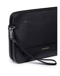 Dolce & Gabbana Black Leather Travel Pouch