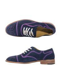 Esquivel Blue Spray-paint Suede Brogue Shoes
