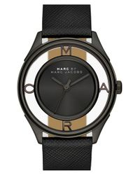 Marc By Marc Jacobs Black 'tether' Skeleton Leather Strap Watch