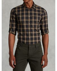 John Varvatos | Brown Rolled Sleeve Plaid Shirt for Men | Lyst