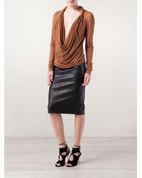 Givenchy Brown Plunging Blouse