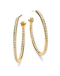 Temple St. Clair | Metallic Classic Diamond & 18k Yellow Gold Hoop Earrings/1.2 | Lyst