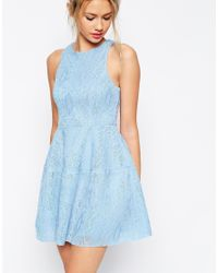 ASOS - Purple Bonded Lace High Neck Lantern Mini Dress - Lyst