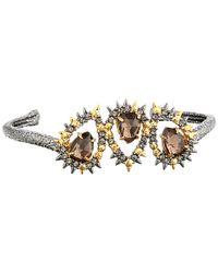 Alexis Bittar | Metallic Crystal Studded Spur Cuff W/ Custom Cut Pink Tourmaline Crystal Pyrite Doublets Bracelet | Lyst