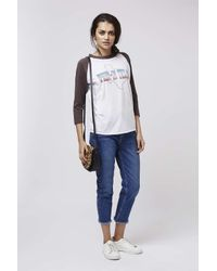 TOPSHOP | White When In Texas Raglan Top By Project Social T | Lyst