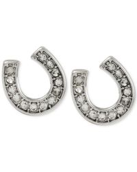 Betsey Johnson | Metallic Silver-tone Horseshoe Crystal Stud Earrings | Lyst