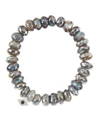 Sydney Evan | 10Mm Mystic Labradorite Beaded Bracelet With 14K White Gold/Diamond Small Evil Eye Charm (Made To Order) | Lyst