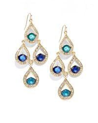 Saks Fifth Avenue - Blue Teardrop Chandelier Earrings - Lyst