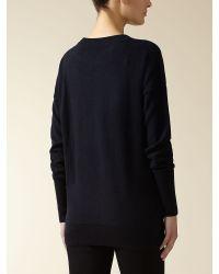 Jaeger Blue : Cashmere Pocket Sweater