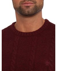 Original Penguin Red Crew Neck Lambswool Cable Knit Jumper for men