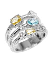 Judith Ripka | Metallic Canary & Sky Blue Crystal White Sapphire Three-Band Sterling Silver Ring | Lyst