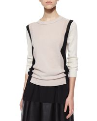 VINCE | Black Two-tone Knit Cashmere Sweater | Lyst