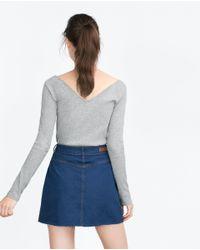 Zara | Gray Basic Top | Lyst