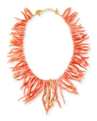 Coomi Orange Coral Statement Necklace With Diamonds