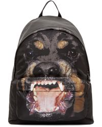 Givenchy Black Rottweiler Print Backpack