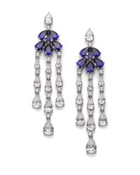 Adriana Orsini | Blue Floral Fringe Drop Earrings | Lyst