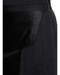 Lanvin Blue Slash Fringe Bonded Jersey Pencil Skirt