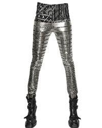 KTZ Metallic Silver Striped Cotton Jersey Trousers